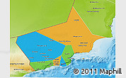 Political 3D Map of Dhofar, physical outside