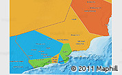 Political 3D Map of Dhofar, political shades outside