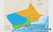 Political 3D Map of Dhofar, shaded relief outside