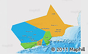 Political 3D Map of Dhofar, single color outside