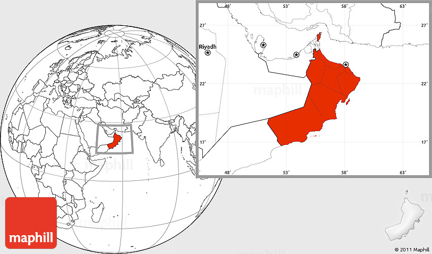 Blank Location Map of Oman
