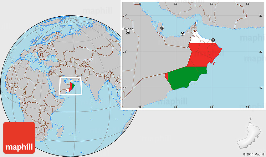 Flag Location Map of Oman gray outside