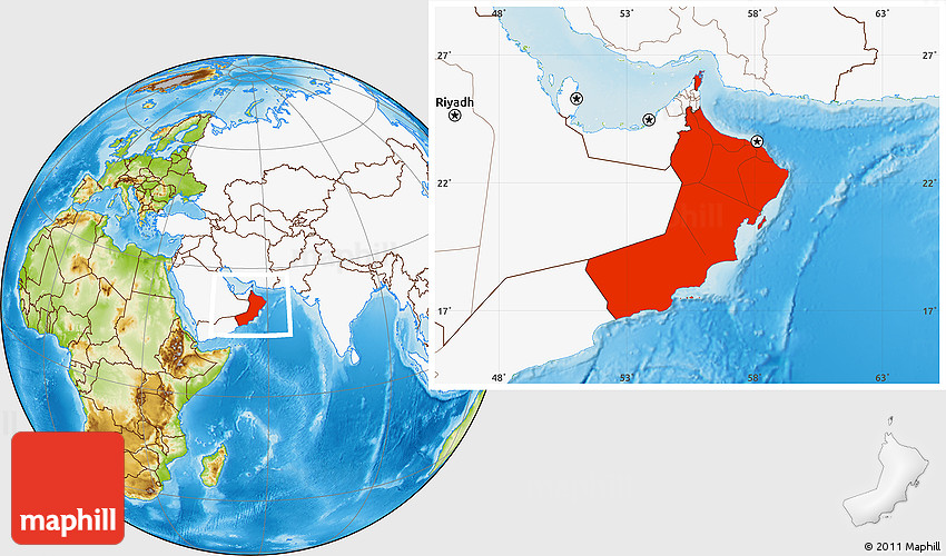 Physical location map of oman highlighted continent gumiabroncs Choice Image