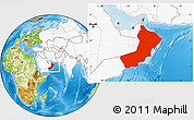 Physical Location Map of Oman, highlighted continent