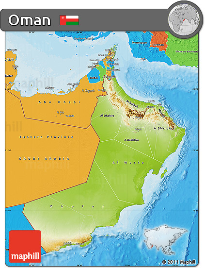Free Physical Map of Oman political outside