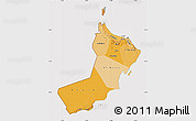 Political Shades Map of Oman, cropped outside