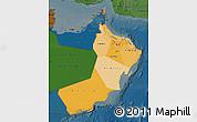 Political Shades Map of Oman, darken