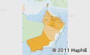 Political Shades Map of Oman, lighten