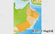 Political Shades Map of Oman, physical outside