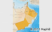 Political Shades Map of Oman, satellite outside, bathymetry sea