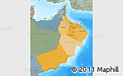 Political Shades Map of Oman, semi-desaturated, land only