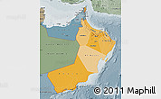 Political Shades Map of Oman, semi-desaturated