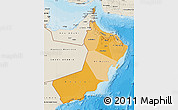 Political Shades Map of Oman, shaded relief outside, bathymetry sea