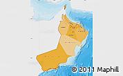 Political Shades Map of Oman, single color outside