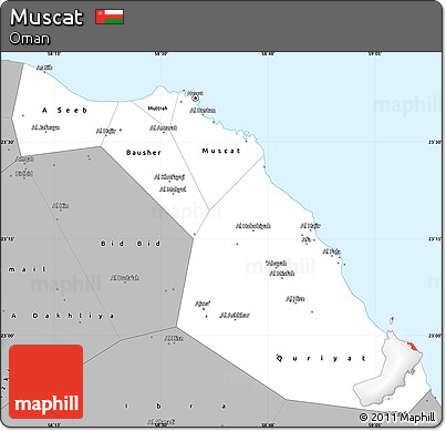 Map Of Muscat Free Gray Simple Map of Muscat