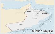 Classic Style Panoramic Map of Oman, single color outside