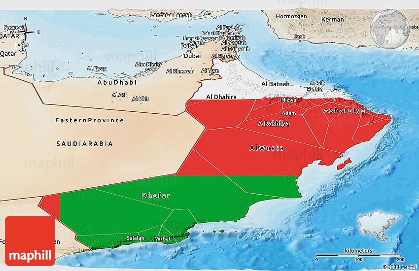 Flag Panoramic Map of Oman satellite outside bathymetry sea flag