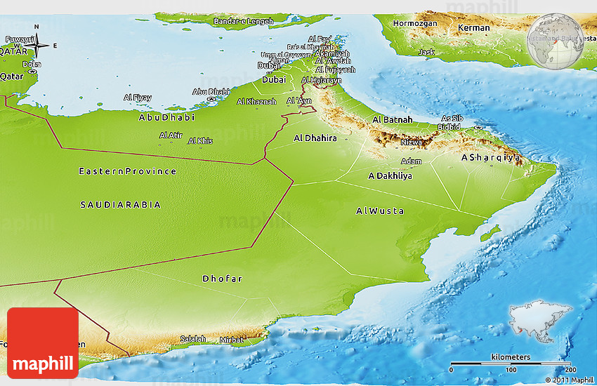 Physical Panoramic Map of Oman