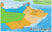 Political Shades Panoramic Map of Oman
