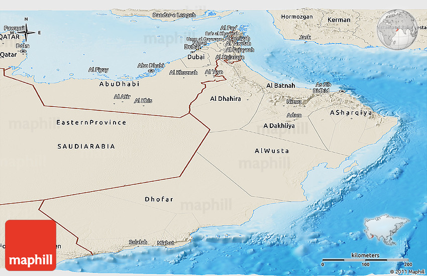 Shaded Relief Panoramic Map of Oman
