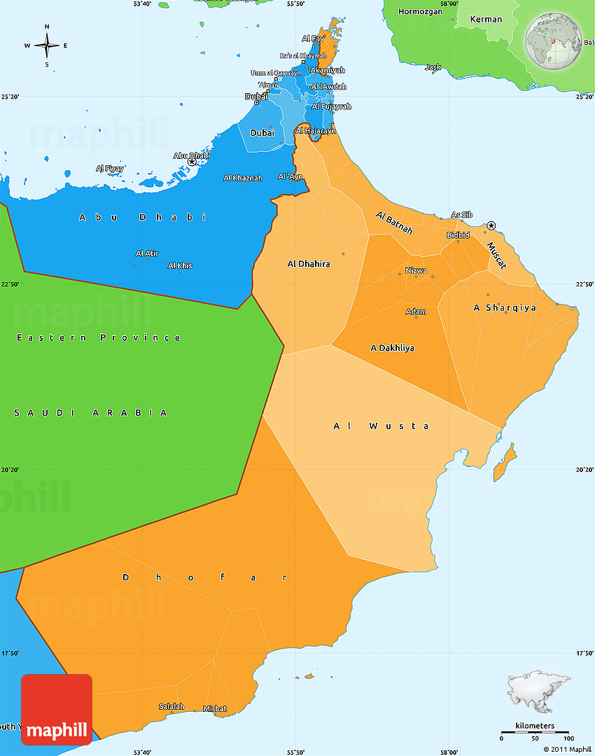 Political Shades Simple Map of Oman