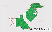 Flag 3D Map of Pakistan, flag centered