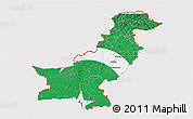 Flag 3D Map of Pakistan, flag aligned to the middle