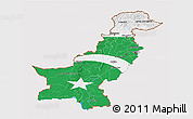 Flag 3D Map of Pakistan, flag rotated