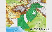 Flag 3D Map of Pakistan, physical outside, bathymetry sea