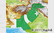 Flag 3D Map of Pakistan, physical outside, flag centered