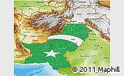 Flag 3D Map of Pakistan, physical outside, flag rotated
