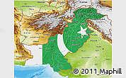 Flag 3D Map of Pakistan, physical outside
