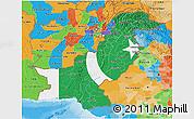 Flag 3D Map of Pakistan, political outside, flag centered