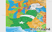 Flag 3D Map of Pakistan, political outside, flag rotated