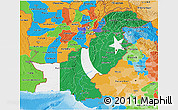 Flag 3D Map of Pakistan, political outside