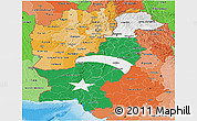 Flag 3D Map of Pakistan, political shades outside, flag rotated