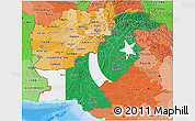 Flag 3D Map of Pakistan, political shades outside