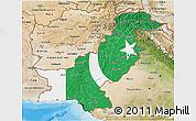 Flag 3D Map of Pakistan, satellite outside, bathymetry sea