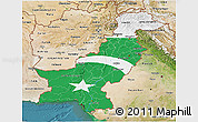 Flag 3D Map of Pakistan, satellite outside, flag rotated