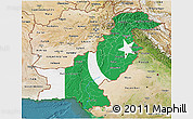 Flag 3D Map of Pakistan, satellite outside