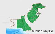 Flag 3D Map of Pakistan, single color outside, bathymetry sea, flag centered