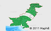 Flag 3D Map of Pakistan, single color outside, bathymetry sea, flag aligned to the middle