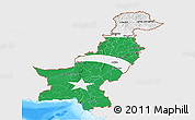 Flag 3D Map of Pakistan, single color outside, bathymetry sea, flag rotated