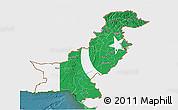 Flag 3D Map of Pakistan, single color outside, satellite sea