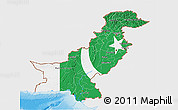 Flag 3D Map of Pakistan, single color outside, shaded relief sea