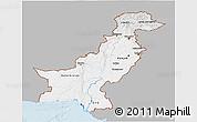 Gray 3D Map of Pakistan, single color outside