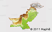 Physical 3D Map of Pakistan, cropped outside
