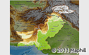 Physical 3D Map of Pakistan, darken