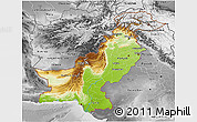 Physical 3D Map of Pakistan, desaturated