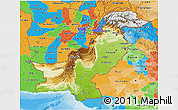 Physical 3D Map of Pakistan, political outside, shaded relief sea